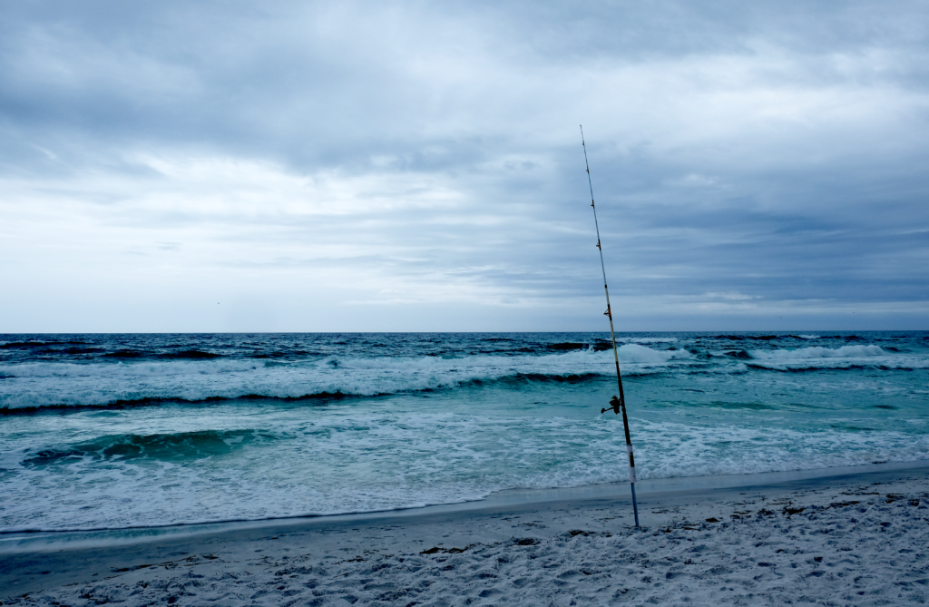 Florida beach with fishing pole