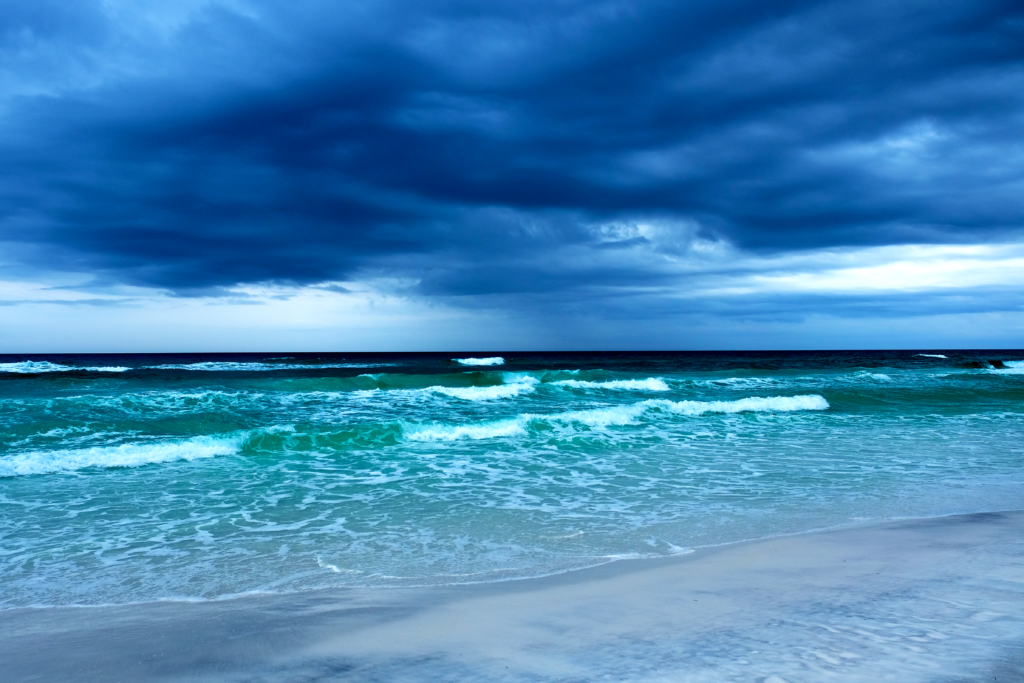 Florida beach with stormy skies