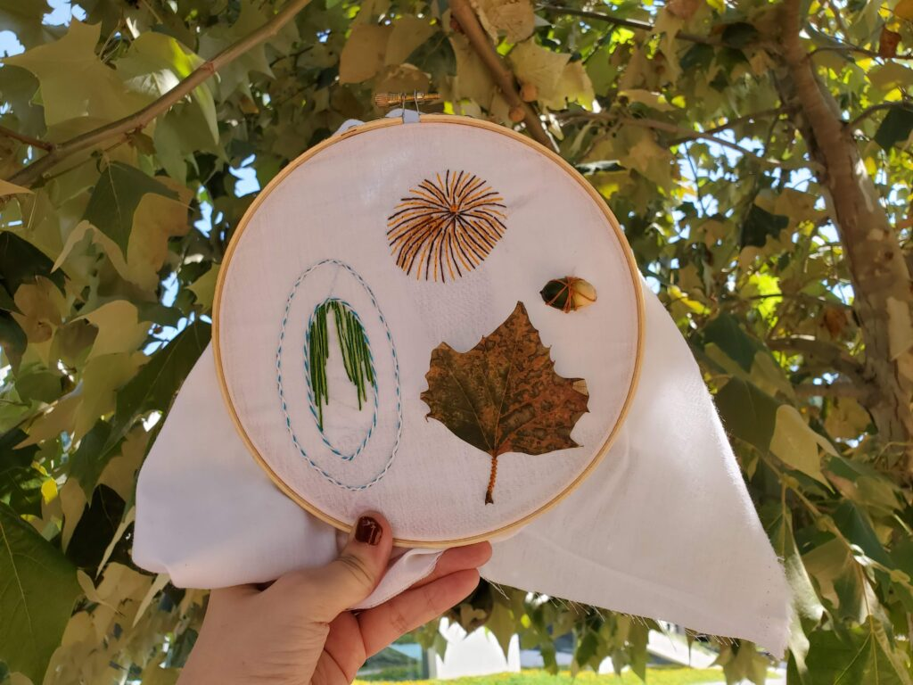 Embroidery in hoop inspired by art and nature at Cullen Sculpture Park.