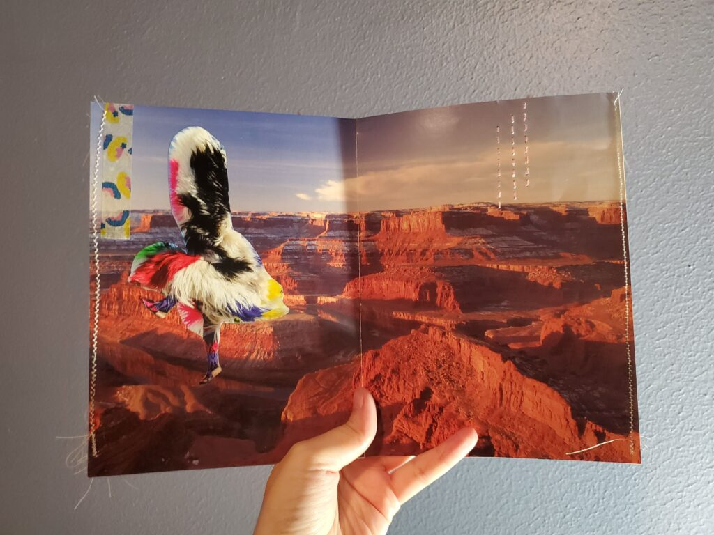 Artist's book. Photo of canyons with collaged dancer, tape and embroidery added.